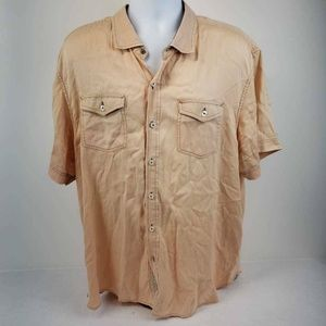 Tommy Bahama Mens Button Front Shirt Orange XXL